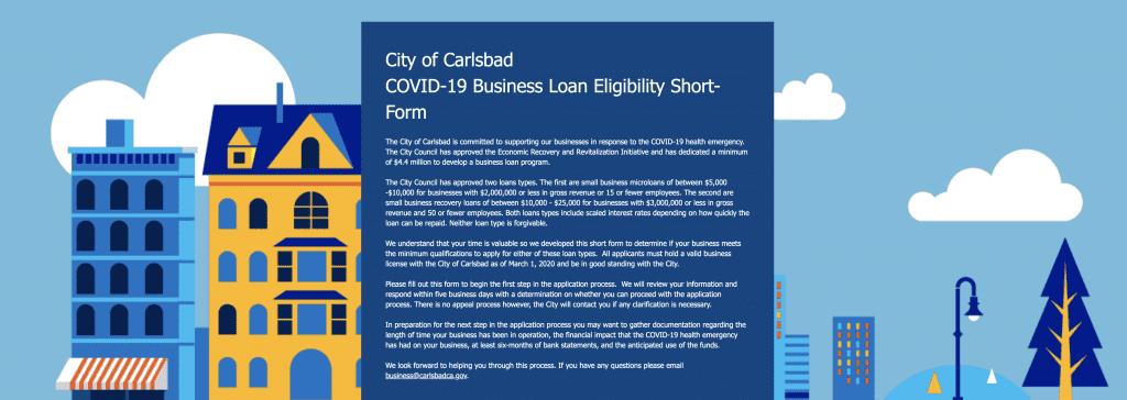 City of Carlsbad Business Loan Program